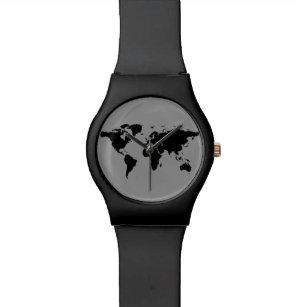 World map wrist watches zazzle world map black watch gumiabroncs Gallery