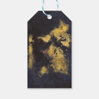 world map black yellow gift tags