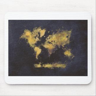 world map black yellow mouse pad
