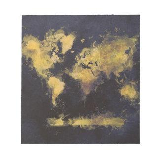 world map black yellow notepad