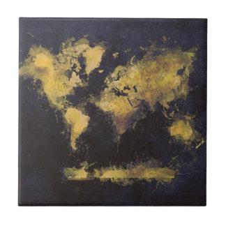 world map black yellow tile
