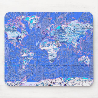 world map blue 1 mouse pad