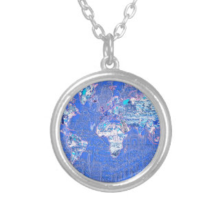 world map blue 1 silver plated necklace