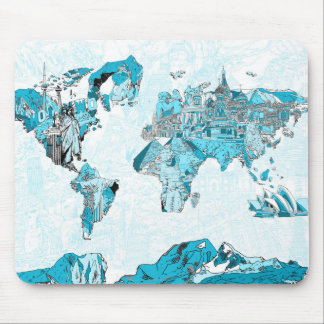 world map blue 2 mouse pad
