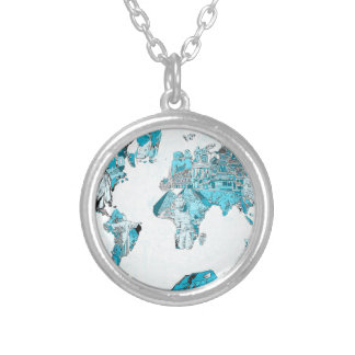 world map blue 2 silver plated necklace