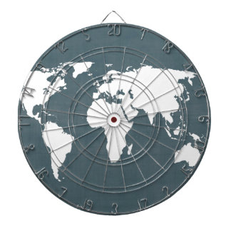 World Map . blue and white Dart Boards