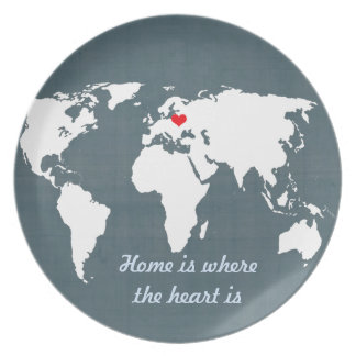 World Map . blue and white Plate