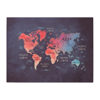 world map blue red wood wood print
