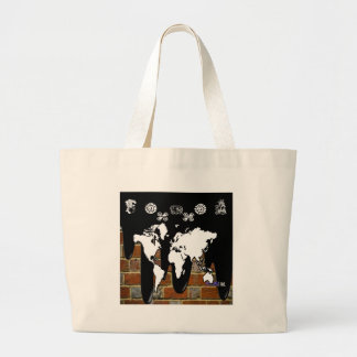 WORLD MAP BRICK BACKGROUND PRODUCTS TOTE BAGS