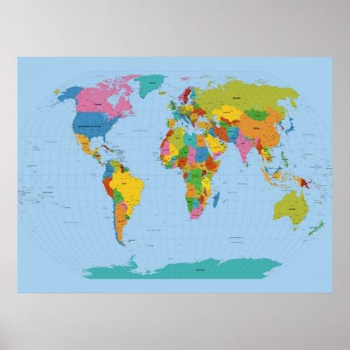World Map Bright Print