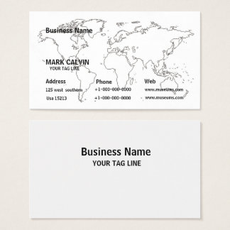 World Map Business Card Desgin