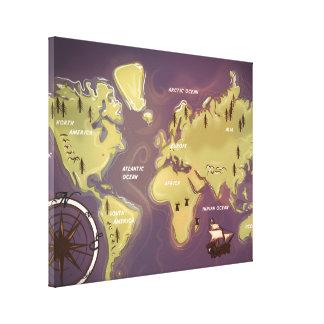 World Map Cartoon. Canvas Prints