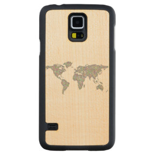 World map carved maple galaxy s5 case