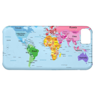 World Map iPhone 5C Covers