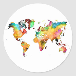 world map classic round sticker