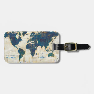 World Map Collage Luggage Tag