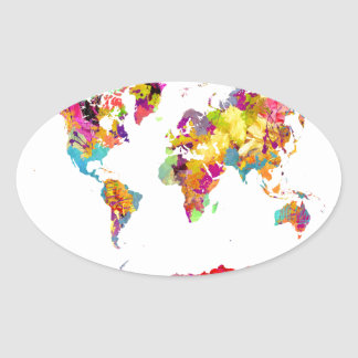 world map colors oval sticker