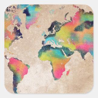 world map colors square sticker