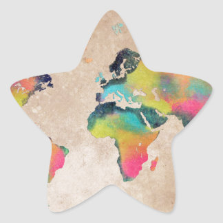 world map colors star sticker