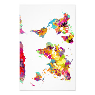 world map colors stationery