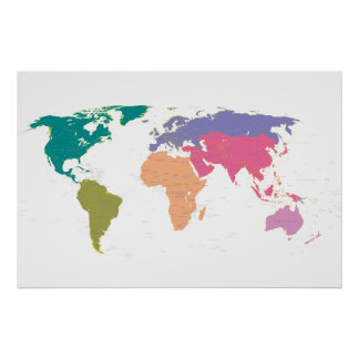 World map coloured by continents poster