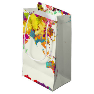 world map colours small gift bag