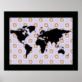 world map & compass rose poster