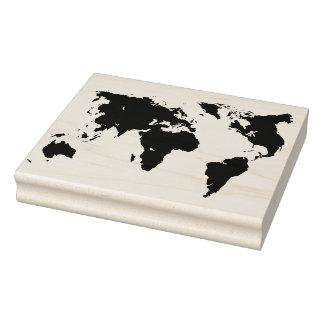 World Map Continent Design Stamp