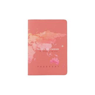 world map coral color travel passport holder