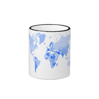 World Map Crumpled Pale Blue Ringer Mug