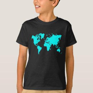 World Map - Cyan T-Shirt