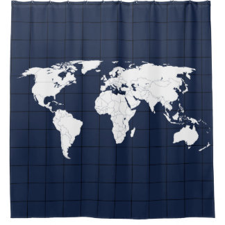 WORLD MAP - DELFT BLUE SHOWER CURTAIN