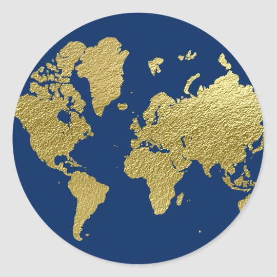 World map design navy and gold classic round sticker zazzle world map design navy and gold classic round sticker gumiabroncs Image collections