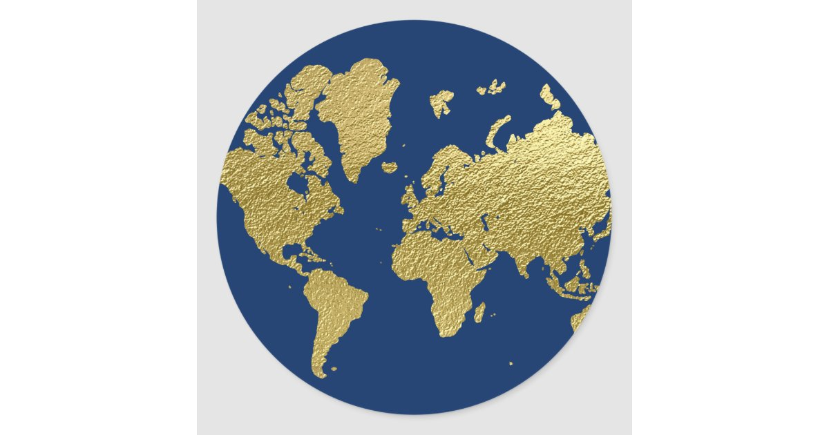 World map design navy and gold classic round sticker zazzle gumiabroncs Choice Image
