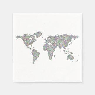 World map disposable serviettes