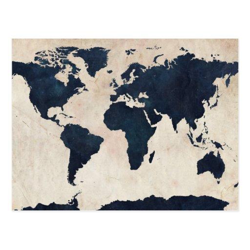 World Map Distressed Navy Postcards
