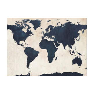 World Map Distressed Navy Stretched Canvas Prints