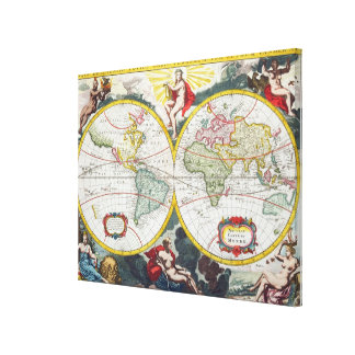 World Map, early 18th century (coloured engraving) Gallery Wrapped Canvas