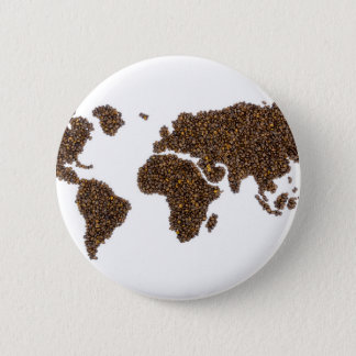 World map filled with coffee beans 6 cm round badge