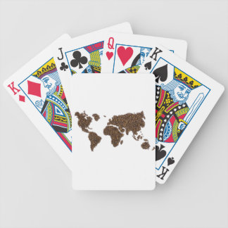 World map filled with coffee beans bicycle playing cards