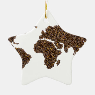 World map filled with coffee beans ceramic ornament
