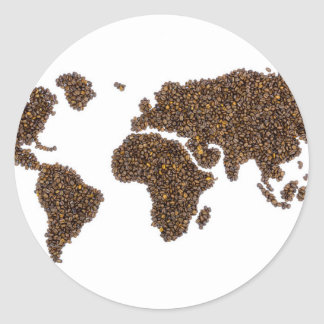 World map filled with coffee beans classic round sticker