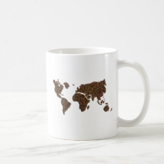 World map filled with coffee beans coffee mug