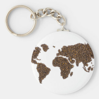 World map filled with coffee beans key ring