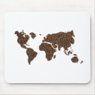 World map filled with coffee beans mouse pad