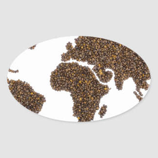 World map filled with coffee beans oval sticker