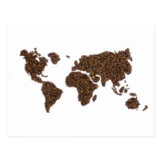 World map filled with coffee beans postcard