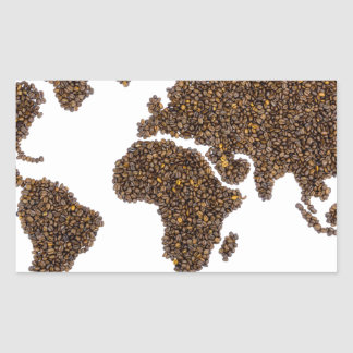 World map filled with coffee beans rectangular sticker