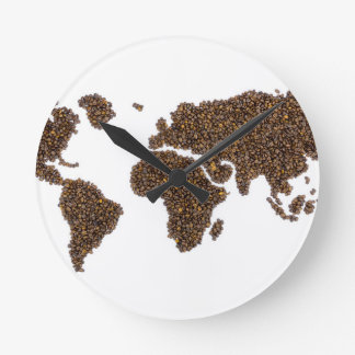 World map filled with coffee beans round clock