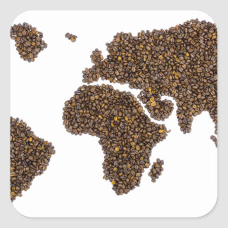 World map filled with coffee beans square sticker